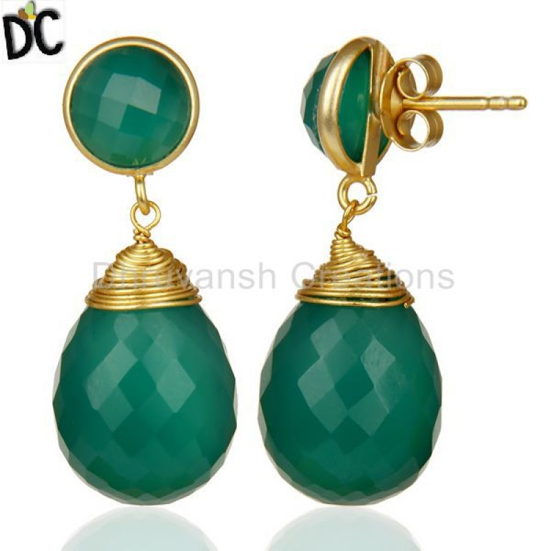 Faceted Gemstone Green Onyx Gold Plated Sterling Silver Drop Earrings
