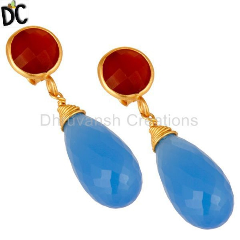 925 Sterling Silver Blue Chalcedony & Red Coral Earring Manufacturer