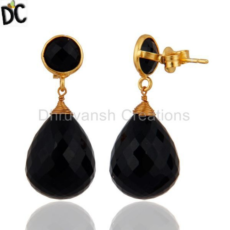 Natural Black Onyx Gemstone Drop 925 Silver Earring Manufacturer