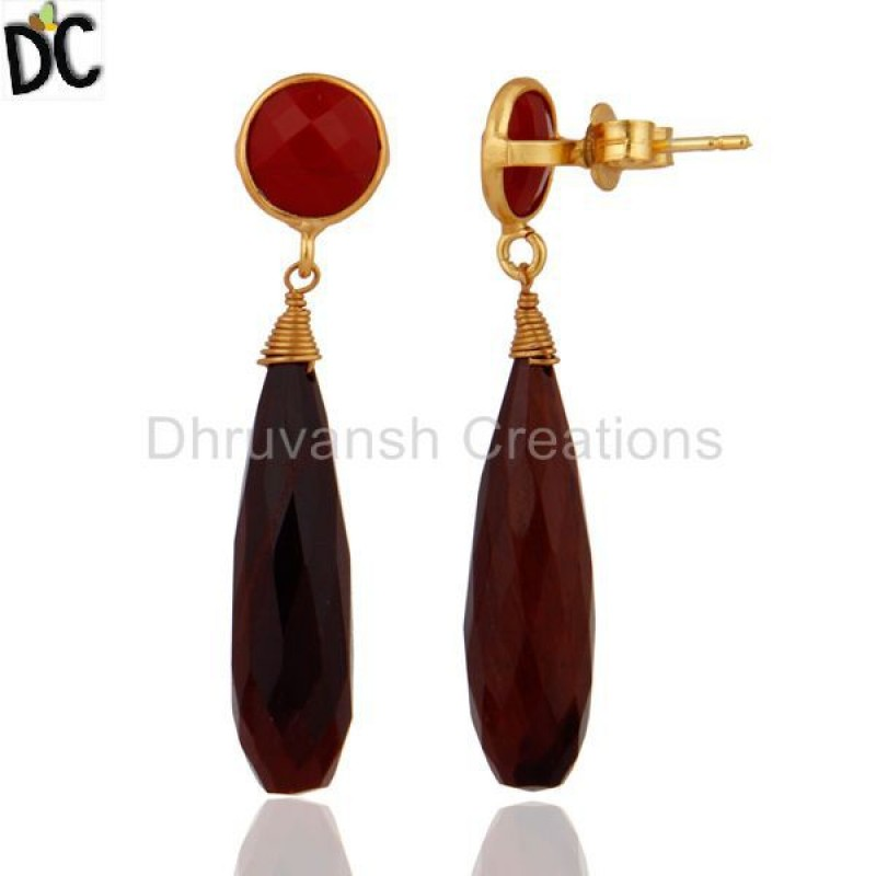 Gold Plated 925 Silver Tiger Eye & Coral Gemstone Earring Supplier