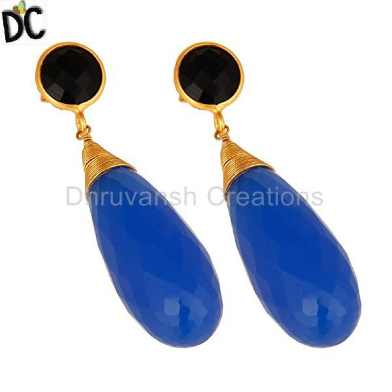 Faceted Blue Chalcedony Wire Wrapped Briolette Gemstone Dangle Earring