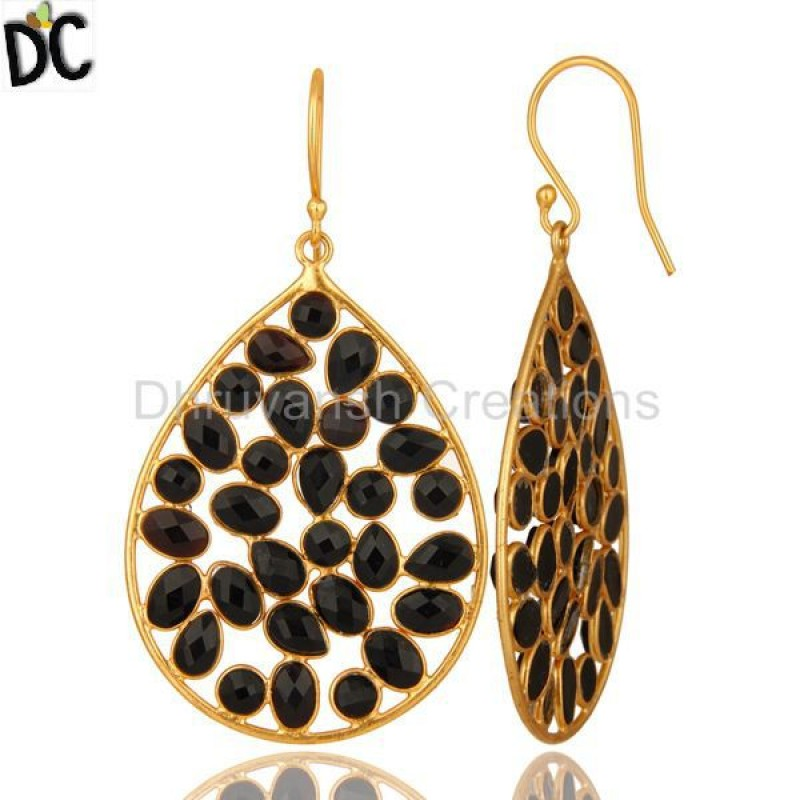 Yellow Gold Plated Sterling Silver Black Onyx Designer Drop Earring