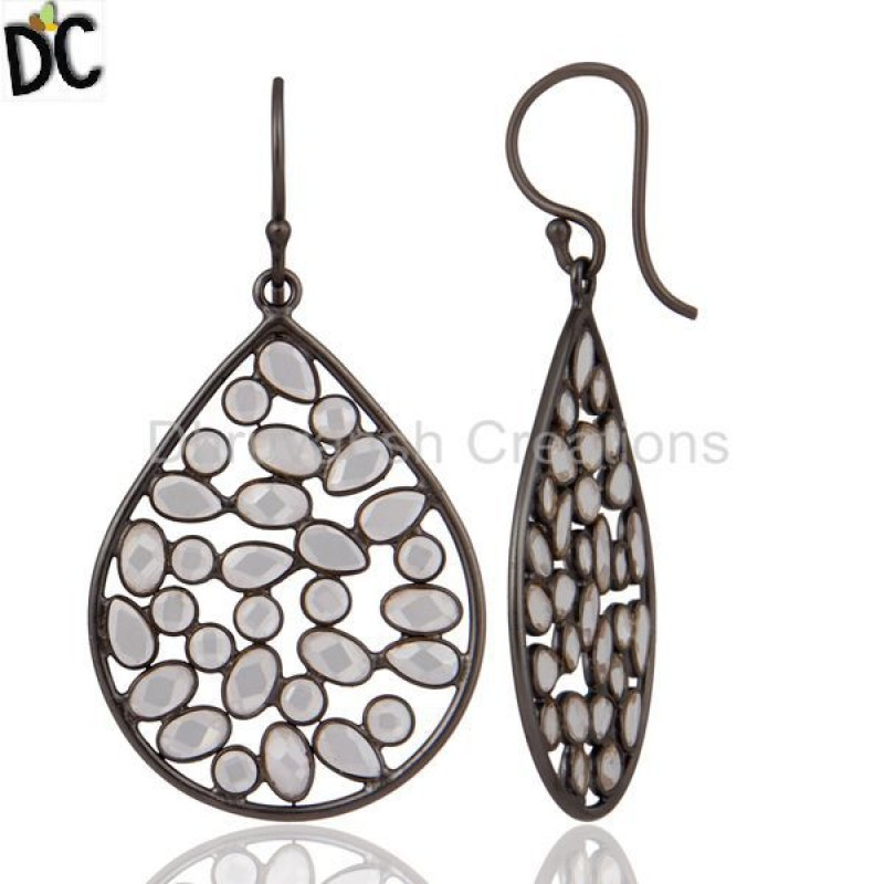 Handmade 925 Sterling Silver Rhodium Plated Cz Gemstone Earring