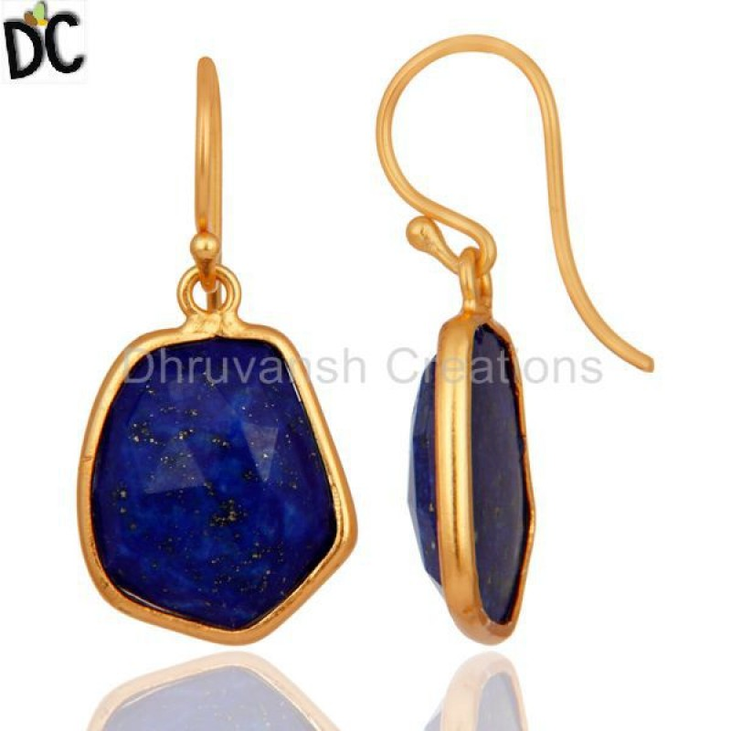 925 Sterling Silver Natural Lapis Lazuli Earring Gemstone Jewelry