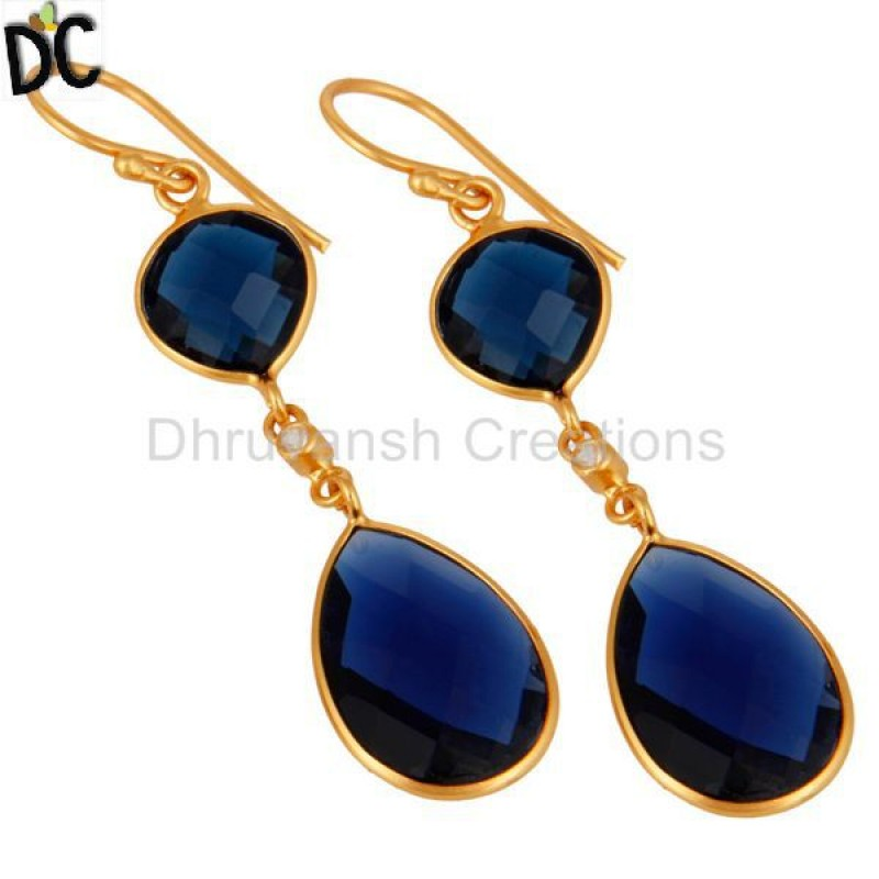 Gold Plated 925 Sterling Silver Blue Sapphire Corundum Earring Sale