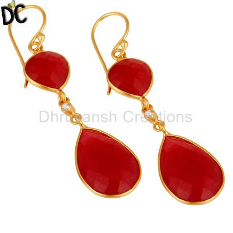 Gold Plated Sterling Silver Handmade Red Aventurine Dangle Earring