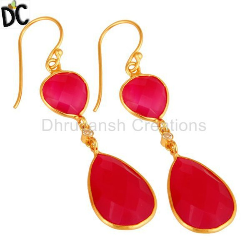Pink Chalcedony Gold Plated Sterling Silver Drop Earrings Manufacturer
