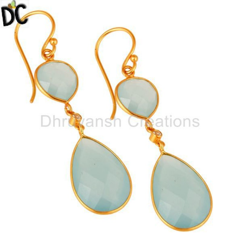 Artisan Crafted 925 Silver Gold Plated Chalcedony Gemstone Earring