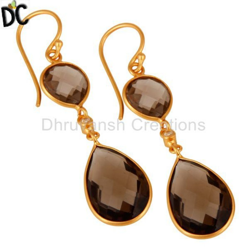 Wholesale Gold Plated Sterling Silver Smoky Quartz Bezel Set Earring