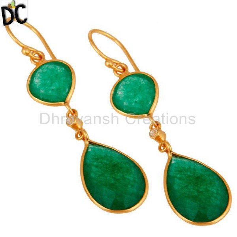 Yellow Gold Plated Sterling Silver Green Aventurine Earring Wholesaler