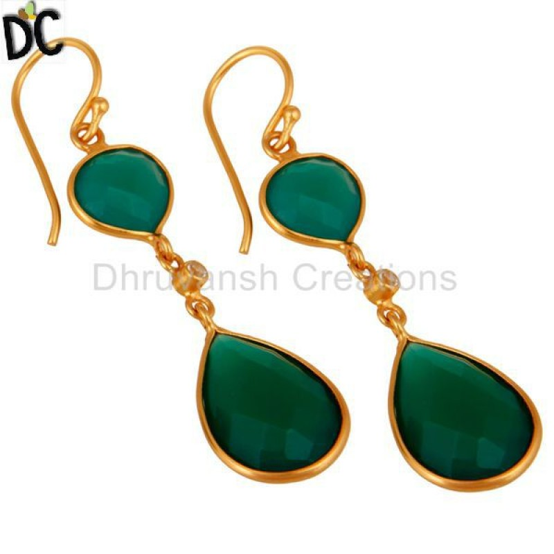 18kt Gold Plated 925 Sterling Silver Green Onyx & White Topaz Earring