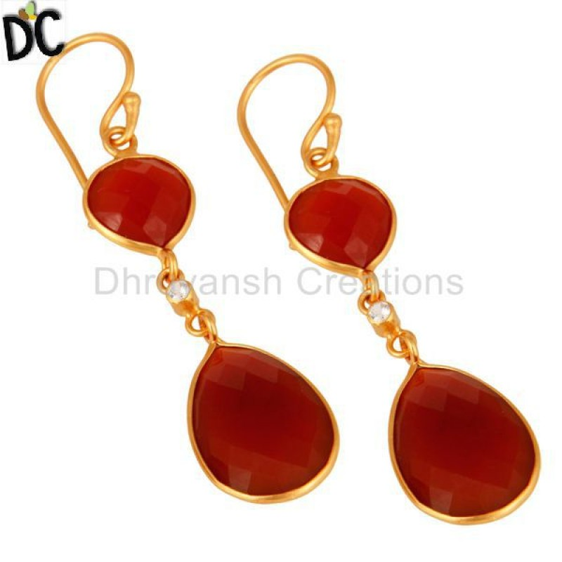 Yellow Gold Plated Sterling Silver Faceted Red Onyx Teardrop Earring