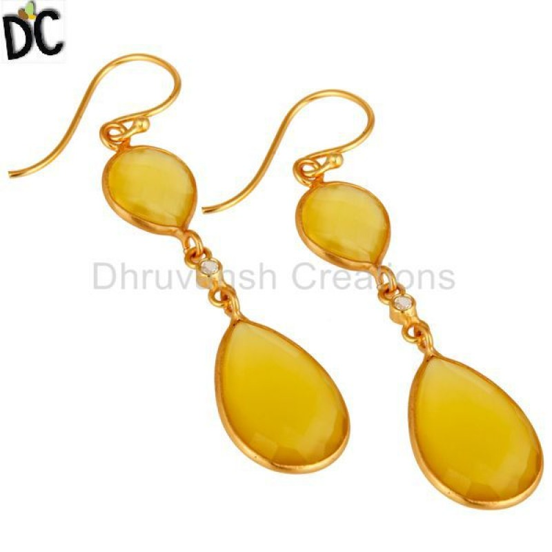 Gold Plated Sterling Silver Yellow Moonstone Dangle Earring Wholesaler