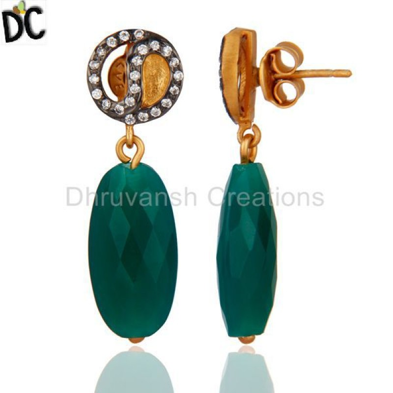 Natural Green Onyx Faceted Drop 925 Sterling Silver Earring Supplier