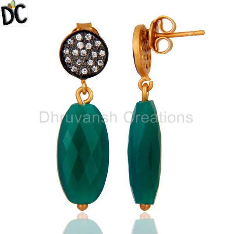 Gold Over 925 Sterling Silver Drop Briolette Green Onyx Earrings