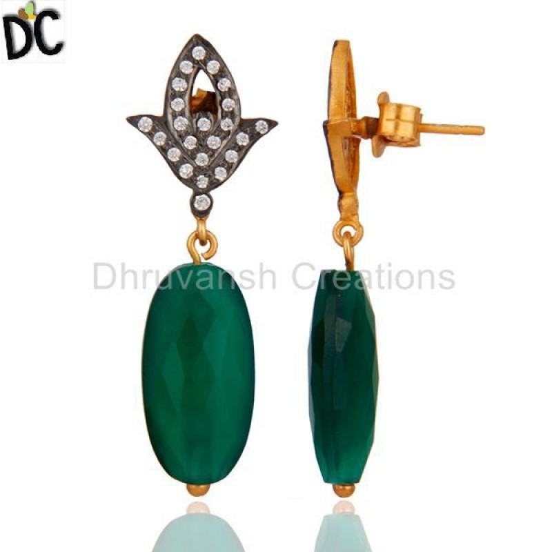 925 Silver Cz Green Onyx Gemstone Designer Earring Jewelry Wholesaler