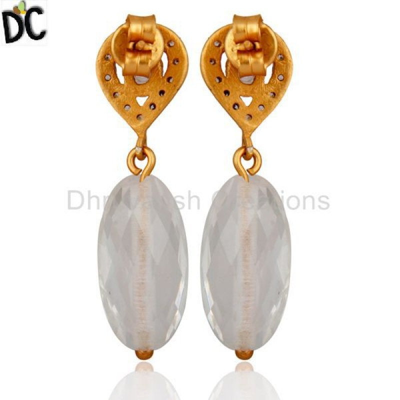 Stunning Cz 925 Silver Crystal Gold Plated Drop Earring girls jewelry