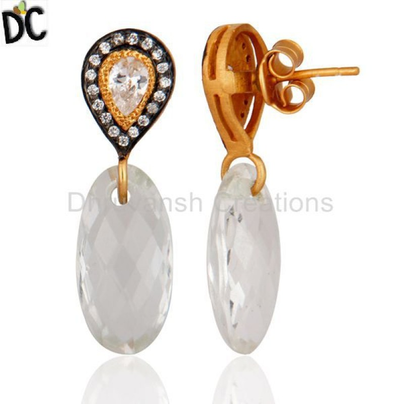 Crystal Quartz 925 Sterling Silver Gold Vermeil CZ Ladies Earrings