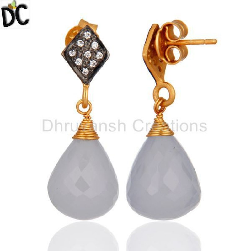 Blue Chalcedony & Cz Gemstone Gold Plated Silver Earring Wholesale