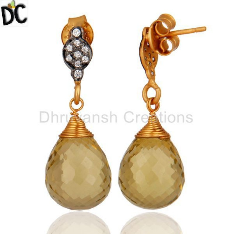 Supplier of 925 Silver Gold Plated Lemon Topaz Gemstone Earring