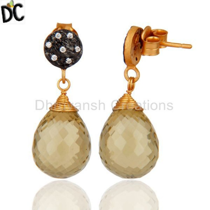 Wholesale Lemon Topaz & Cz Gemstone 925 Sterling Silver Earirng