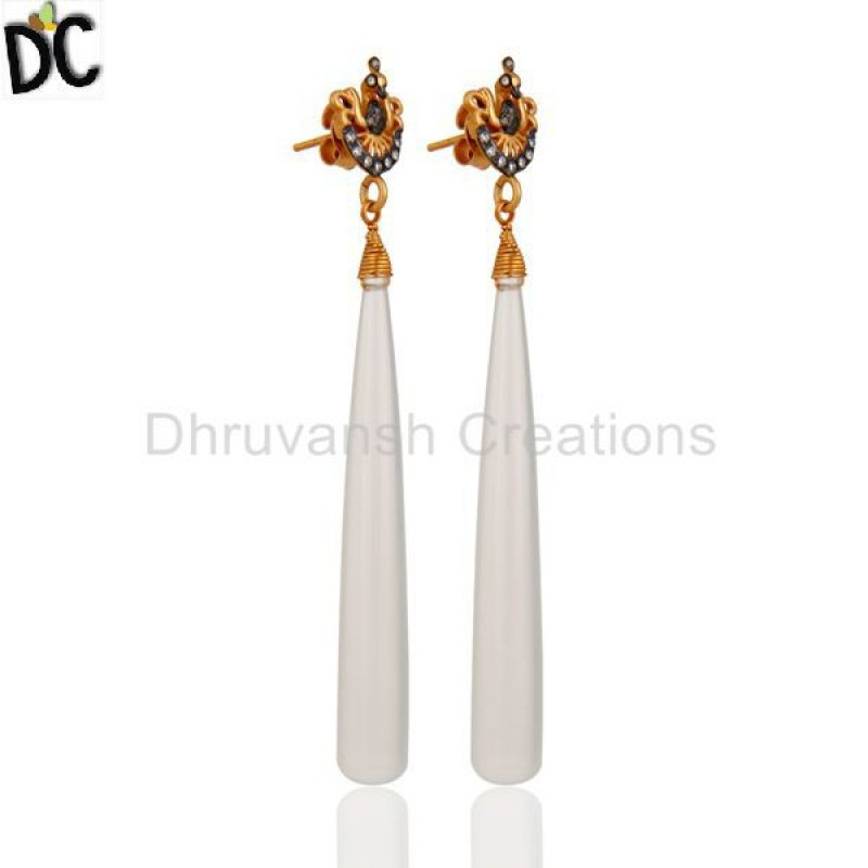 White Chalcedony Cz Gemstone Gold Plated 925 Silver Earring Wholesale