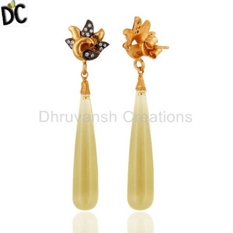 Wholesale Designer 925 Sterling Silver Lemon Topaz Cz Gemstone Earring