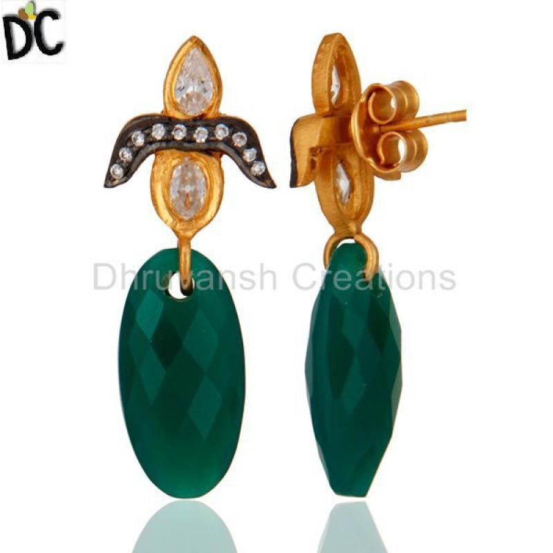 Wholesale Green Onyx Gemstone Gold Plated 925 Silver Earring Supplier