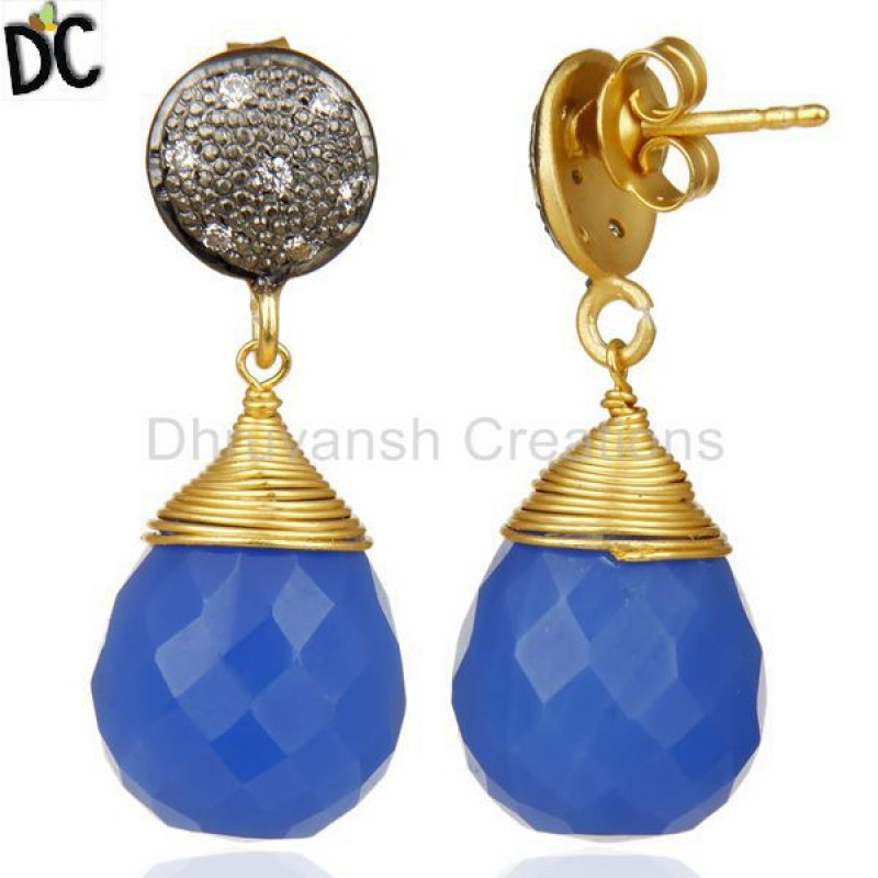 Gold Plated 925 Silver Blue Chalcedony & Cz Gemstone Earring Wholesale