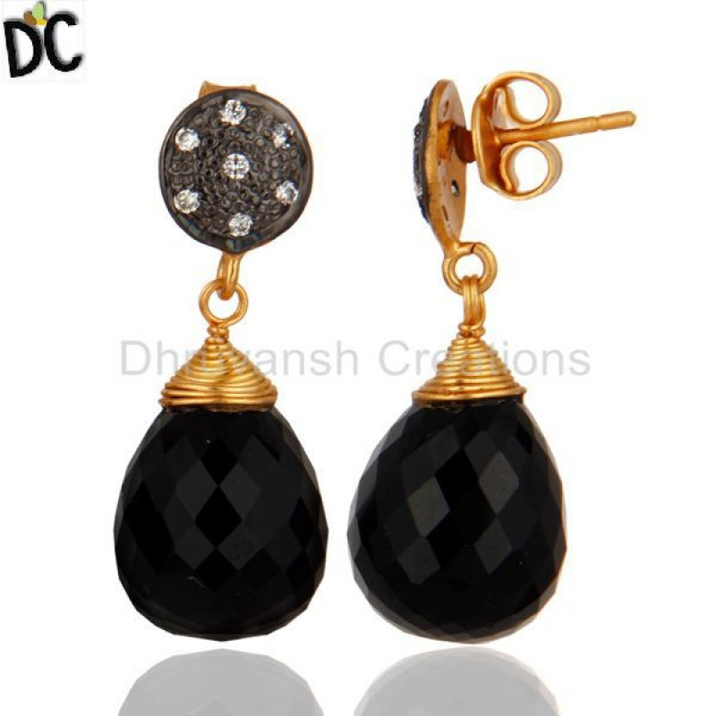 Black Onyx & Cz Gemstone Gold Plated 925 Silver Earring Manufacturer