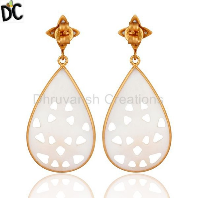 Designer Mother of Pearl Handcarved 925 Silver Earring Manufacturer