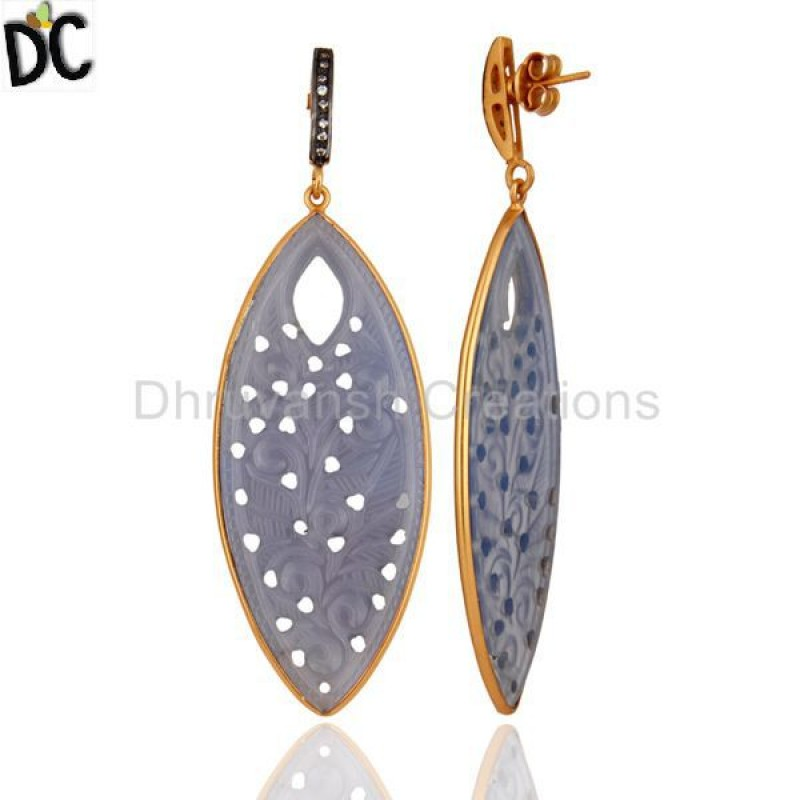 Cz & Blue Chalcedony Gemstone Gold Plated 925 Silve Earring Supplier