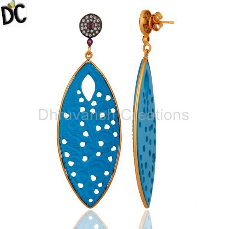 Handmade 925 Silver Gold Plated Turquoise & Cz Gemstone Earring