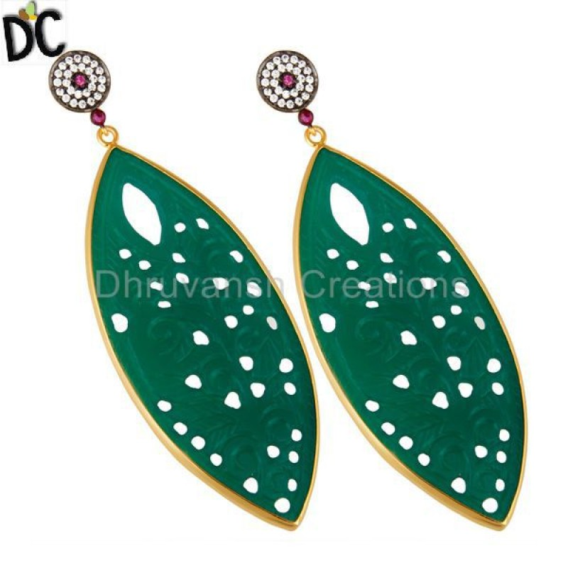 Cz & Green Onyx Gemstone Gold Plated 925 Silver Earring Supplier