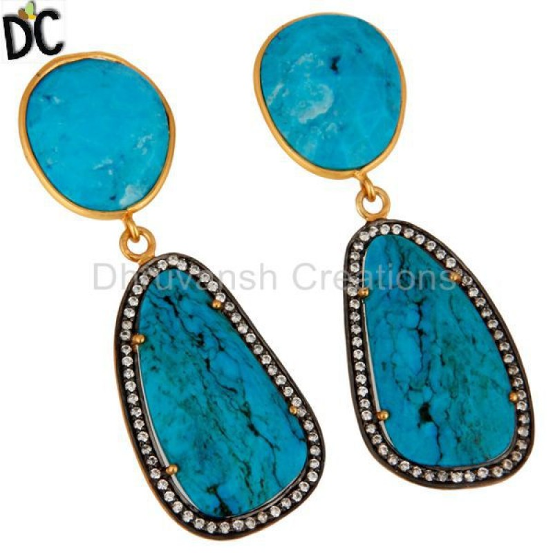 Gold Plated Solid Silver Turquoise & Cz Handmade Earring Manufacturer