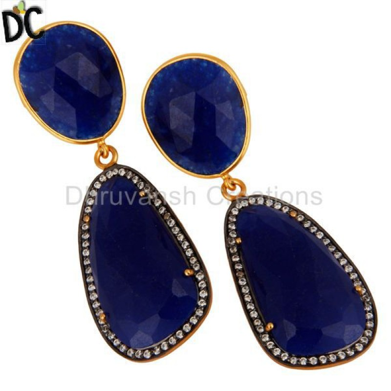 Natural Blue Aventurine Gemstone 925 Silver Earring With CZ Jewelry