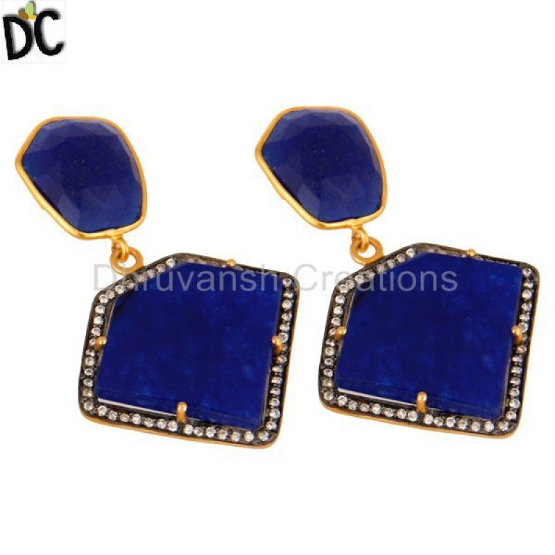 Blue Aventurine & Cz Gold Plated 925 Sterling Silver Earring Jewelry