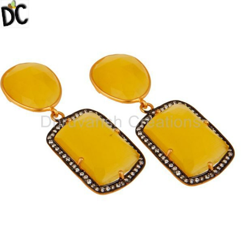 Gold Plated Silver Yellow Moonstone Prong Set Earring Manufacturer