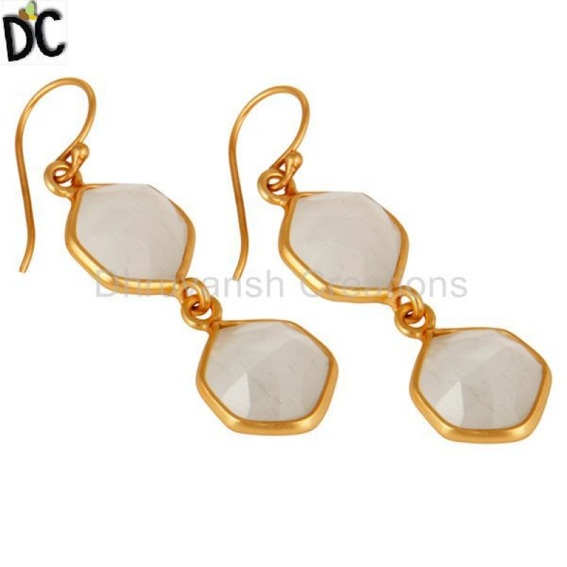 Silver Gold Plated Moonstone Earring Personalized Jewelry Wholesale