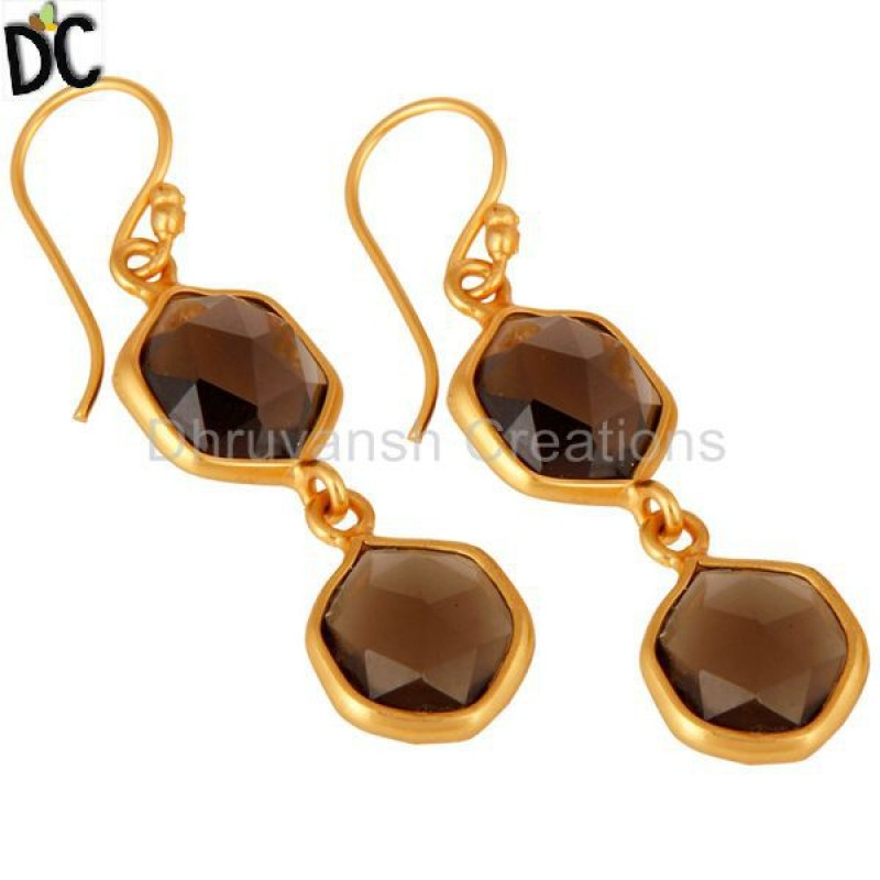 Yellow Gold Smoky Quartz Gemstone Silver Earring Jewelry Manufacturer