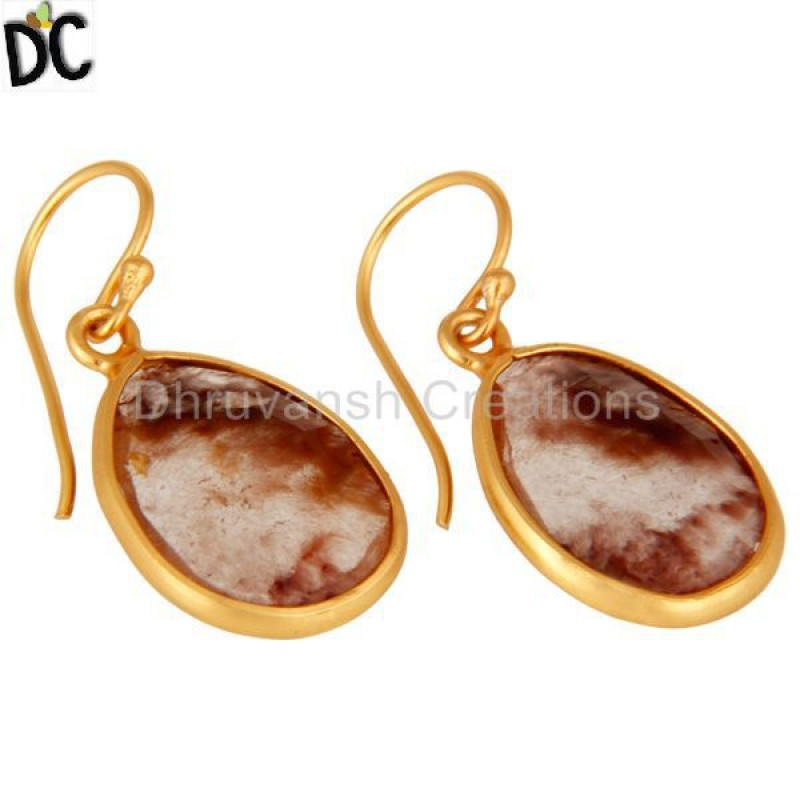 Yellow Gold Plated Silver Golden Rutile Quartz Earring Silver Jewelry