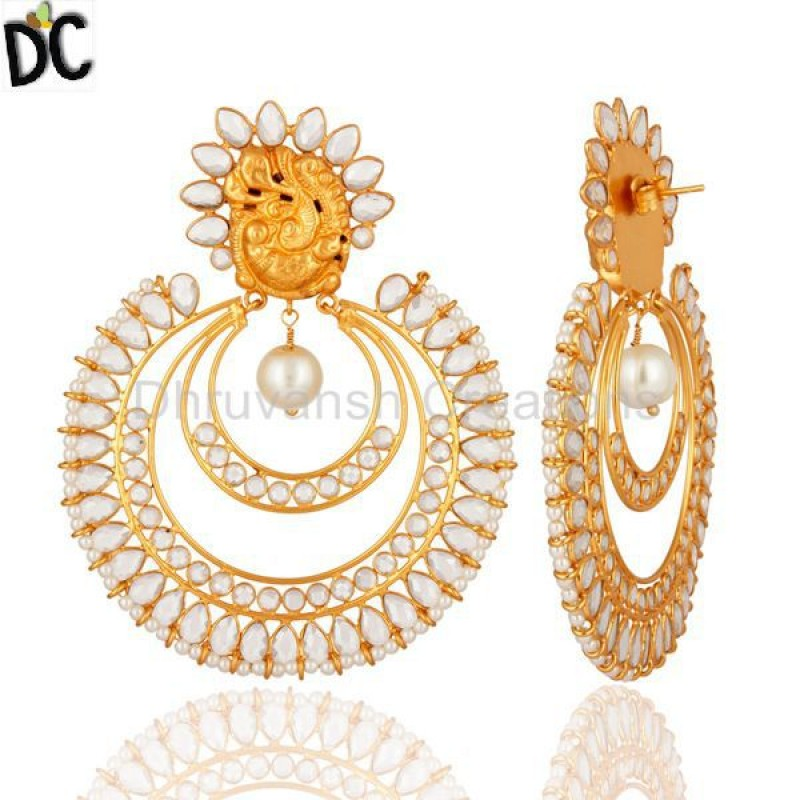 Gold Plated 925 Sterling Silve Pearl Gemstone Bridal Fashion Earring