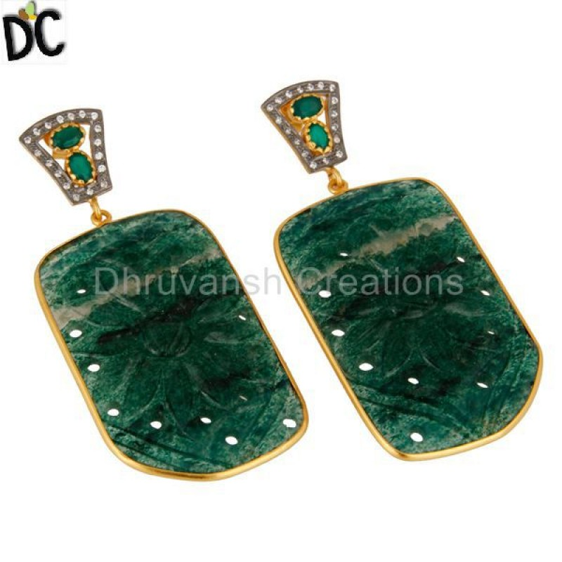 Manufacturer Carved Aventurine Gemstone Dangle Earring online Jewelry
