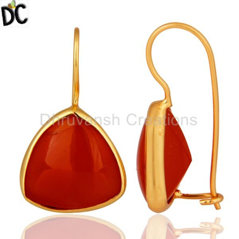 Gold Plated 925 Silver Red Carnelian Gemstone Dangle Earring Supplier