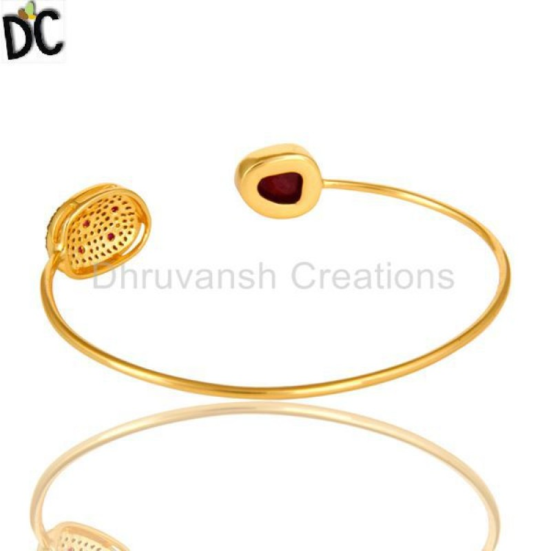Ruby And Pave Setting Diamond Gold And Silvere Bangle Women Jewelry