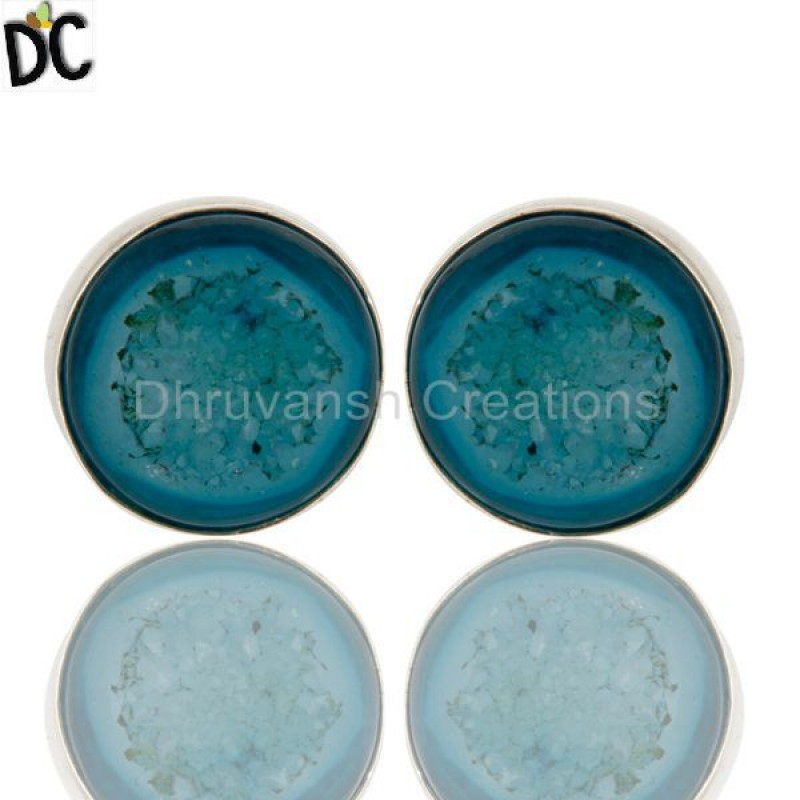 925 Sterling Silver Natural Agate Druzy Gemstone Stud Earring Supplier