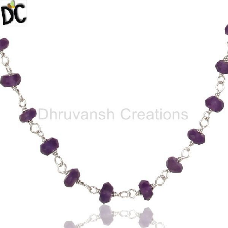 925 Silver Amethyst Gemstone Bead Necklace ethnic jewelry Manufacturer