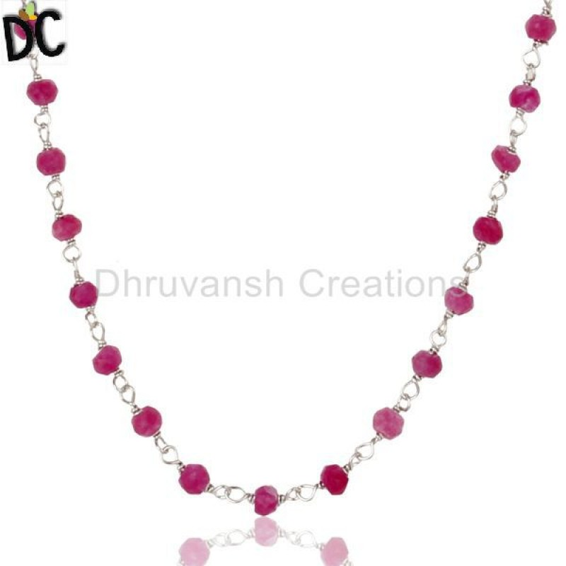 925 Silver Red Aventurine Beads Chain Necklace jewelry manufacturer