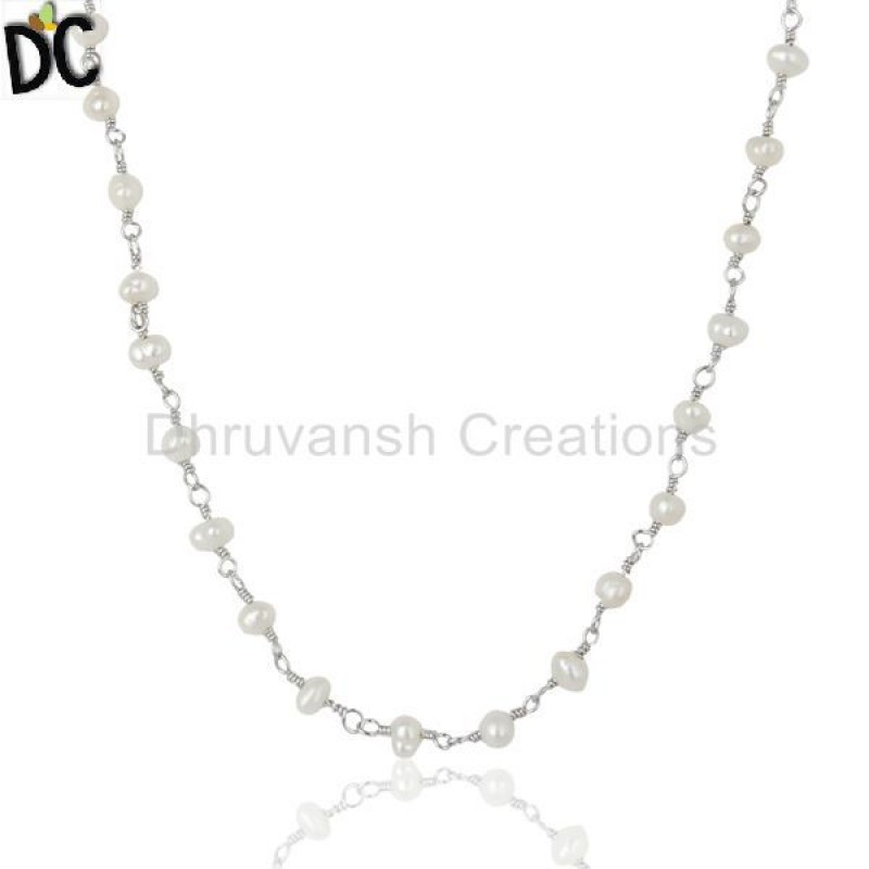 Pearl Gemstones 925 Silver Necklace Manufacturer of Peral Jewelry