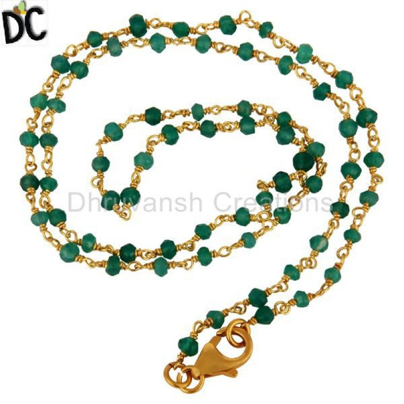 Green Onyx Gemstone Gold Plated 925 Silver Necklace jewelry Wholesaler